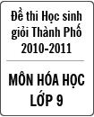 Đề thi học sinh giỏi thành phố Đà Nẵng môn Hóa lớp 9 năm học 2010 - 2011 (Có đáp án)