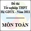 Đề thi tốt nghiệp THPT năm 2011 hệ giáo dục thường xuyên - môn Toán