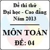 Đề thi thử Đại học năm 2013 - môn Toán (Đề 4)