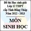 Đề thi học sinh giỏi lớp 12 THPT tỉnh Đồng Tháp môn Sinh học (năm học 2012 - 2013)