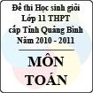 Đề thi học sinh giỏi lớp 11 THPT tỉnh Quảng Bình môn Toán (năm học 2010 - 2011)