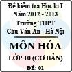 Đề thi học kì I môn Hóa lớp 10 cơ bản dành cho các lớp D (Đề 01) - THPT Chu Văn An (2012 - 2013)