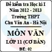 Đề thi học kì I môn Ngữ Văn lớp 11 cơ bản dành cho các lớp A (Đề 02) - THPT Chu Văn An (2012 - 2013)