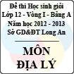 Đề thi học sinh giỏi tỉnh Long An lớp 12 vòng 1 năm 2012 - 2013 môn Địa lí (Bảng A)