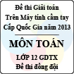 Đề thi giải toán trên Máy tính cầm tay cấp Quốc gia năm 2013 môn Toán lớp 12 GDTX - Đề thi đồng đội