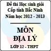 Đề thi học sinh giỏi tỉnh Bắc Ninh năm 2012 - 2013 môn Địa lí lớp 12 (Có đáp án)