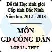 Đề thi học sinh giỏi tỉnh Bắc Ninh năm 2012 - 2013 môn Giáo dục công dân lớp 12 (Có đáp án)