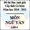 Đề thi học sinh giỏi tỉnh Cà Mau lớp 9 năm 2011 môn Ngữ văn