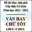 Đề thi chọn học sinh giỏi Văn hay chữ tốt cấp THCS (lớp 8 - 9) năm 2012