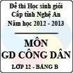 Đề thi học sinh giỏi tỉnh Nghệ An năm 2012 - 2013 môn Giáo dục công dân lớp 12 Bảng B (Có đáp án)