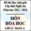 Đề thi học sinh giỏi tỉnh Nghệ An năm 2012 - 2013 môn Hóa lớp 12 Bảng A (Có đáp án)