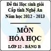 Đề thi học sinh giỏi tỉnh Nghệ An năm 2012 - 2013 môn Hóa lớp 12 Bảng B (Có đáp án)