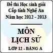 Đề thi học sinh giỏi tỉnh Nghệ An năm 2012 - 2013 môn Lịch sử lớp 12 Bảng A (Có đáp án)