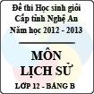 Đề thi học sinh giỏi tỉnh Nghệ An năm 2012 - 2013 môn Lịch sử lớp 12 Bảng B (Có đáp án)