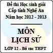 Đề thi học sinh giỏi tỉnh Nghệ An năm 2012 - 2013 môn Lịch sử lớp 12 Bổ túc THPT (Có đáp án)