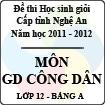 Đề thi học sinh giỏi tỉnh Nghệ An năm 2011 - 2012 môn Giáo dục công dân lớp 12 Bảng A (Có đáp án)