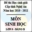 Đề thi học sinh giỏi tỉnh Nghệ An năm 2010 - 2011 môn Sinh học lớp 9 Bảng B (Có đáp án)