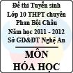 Đề thi tuyển sinh lớp 10 THPT chuyên Phan Bội Châu năm 2011 - 2012 môn Hóa (Có đáp án)