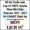 Đề thi tuyển sinh lớp 10 THPT chuyên Phan Bội Châu năm 2011 - 2012 môn Lịch sử (Có đáp án)
