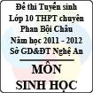 Đề thi tuyển sinh lớp 10 THPT chuyên Phan Bội Châu năm 2011 - 2012 môn Sinh (Có đáp án)