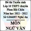 Đề thi tuyển sinh lớp 10 THPT chuyên Phan Bội Châu năm 2011 - 2012 môn Ngữ văn (Có đáp án)