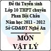 Đề thi tuyển sinh lớp 10 THPT chuyên Phan Bội Châu năm 2011 - 2012 môn Vật lý (Có đáp án)