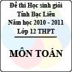 Đề thi học sinh giỏi tỉnh Bạc Liêu môn Toán lớp 12 (Năm học 2010 - 2011) - Có đáp án