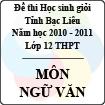 Đề thi học sinh giỏi lớp 12 THPT tỉnh Bạc Liêu môn Ngữ Văn (Năm học 2010 - 2011) - Có đáp án
