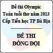 Đề thi Olympic toán tuổi thơ năm 2013 cấp Tiểu học thành phố Bà Rịa - Đề thi tiếp sức đồng đội