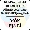 Đề thi học sinh giỏi lớp 11 THPT tỉnh Quảng Bình năm học 2012 - 2013 môn Địa lí - Có đáp án