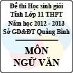 Đề thi học sinh giỏi lớp 11 THPT tỉnh Quảng Bình năm học 2012 - 2013 môn Ngữ văn - Có đáp án