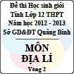 Đề thi học sinh giỏi lớp 12 THPT tỉnh Quảng Bình năm học 2012 - 2013 môn Địa lí - Vòng 2 (Có đáp án)