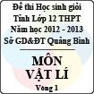 Đề thi học sinh giỏi lớp 12 THPT tỉnh Quảng Bình năm học 2012 - 2013 môn Vật lý - Vòng 1 (Có đáp án)