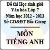 Đề thi học sinh giỏi Văn hóa lớp 7 tỉnh Bắc Giang năm học 2012 - 2013 môn Tiếng Anh - Có đáp án