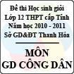 Đề thi học sinh giỏi lớp 12 THPT tỉnh Thanh Hóa năm học 2010 - 2011 môn Giáo dục công dân (Có đáp án)