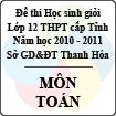 Đề thi học sinh giỏi lớp 12 THPT tỉnh Thanh Hóa năm học 2010 - 2011 môn Toán (Có đáp án)