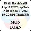 Đề thi học sinh giỏi lớp 12 THPT tỉnh Thanh Hóa năm học 2011 - 2012 môn Toán (Có đáp án)