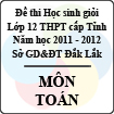 Đề thi học sinh giỏi lớp 12 THPT tỉnh Đăk Lăk năm học 2011 - 2012 môn Toán (Có đáp án)