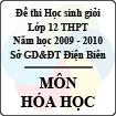 Đề thi học sinh giỏi cấp cơ sở tỉnh Điện Biên năm 2010 môn Hóa lớp 12 - Có đáp án
