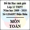 Đề thi học sinh giỏi cấp cơ sở tỉnh Điện Biên năm 2010 môn Toán lớp 12 - Có đáp án
