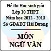 Đề thi học sinh giỏi lớp 10 THPT tỉnh Hải Dương năm học 2012 - 2013 môn Vật lý - Có đáp án
