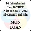 Đề thi tuyển sinh lớp 10 THPT tỉnh Phú Yên năm học 2011 - 2012 môn Toán - Có đáp án