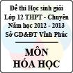 Đề thi học sinh giỏi lớp 12 THPT chuyên tỉnh Vĩnh Phúc năm 2013 môn Hóa học - Có đáp án