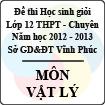 Đề thi học sinh giỏi lớp 12 THPT chuyên tỉnh Vĩnh Phúc năm 2013 môn Vật lý - Có đáp án