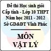 Đề thi học sinh giỏi lớp 10 THPT tỉnh Vĩnh Phúc năm 2012 môn Vật lý - Có đáp án