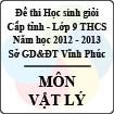 Đề thi học sinh giỏi lớp 9 THCS tỉnh Vĩnh Phúc năm 2013 môn Vật lý - Có đáp án