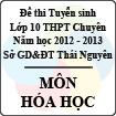 Đề thi tuyển sinh lớp 10 THPT Chuyên tỉnh Thái Nguyên năm 2012 - 2013 môn Hóa học - Có đáp án