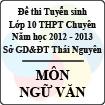 Đề thi tuyển sinh lớp 10 THPT Chuyên tỉnh Thái Nguyên năm 2012 - 2013 môn Ngữ văn - Có đáp án