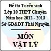 Đề thi tuyển sinh lớp 10 THPT Chuyên tỉnh Thái Nguyên năm 2012 - 2013 môn Vật lý - Có đáp án