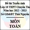 Đề thi tuyển sinh lớp 10 THPT chuyên Tin học tỉnh Thái Nguyên năm 2012 - 2013 môn Toán - Có đáp án